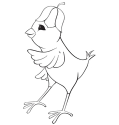 Outline chicken with flower cap vector image