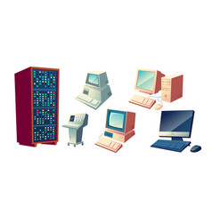 personal computers evolution cartoon set vector image