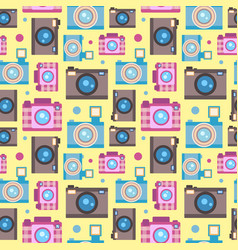 photo camera icon flat style seamless pattern vector image