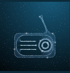 polygonal old radio with antenna on blue vector image