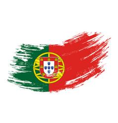 portuguese flag grunge brush background vector image