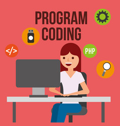 Program coding website vector
