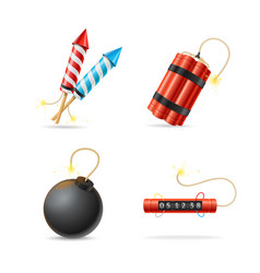 realistic detailed 3d different bomb set vector image