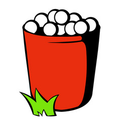 red basket with golf balls icon icon cartoon vector image