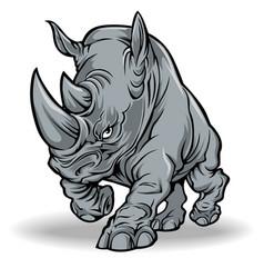 rhino animal strong run vector image