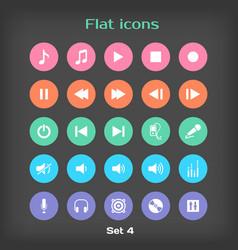 Round flat icon set 4 vector