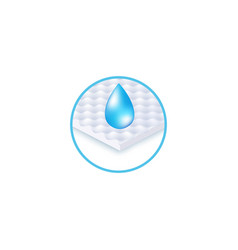 Round icon waterprofabric layer and drop vector