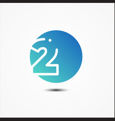 round symbol number 2 design minimalist vector image