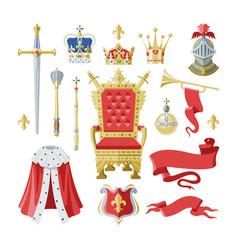 royalty golden royal crown symbol king vector image