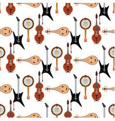 Seamless pattern background stringed musical vector