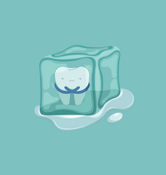 sensitive tooth with ice dental concept vector image