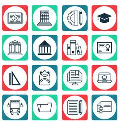 Set 16 school icons includes academy vector