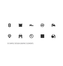 set of 10 editable car icons includes symbols vector image