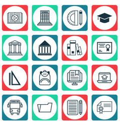 Set of 16 school icons includes academy vector