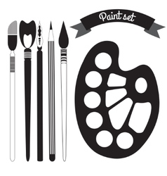 Set of art and paint supplies vector image