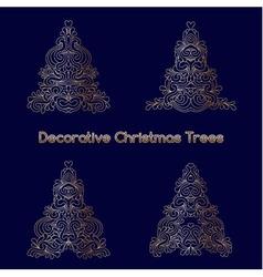Set of decorative oriental stylized Christmas tree vector image
