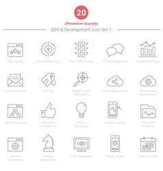 Set of Thin Line SEO and Development icons Set 1 vector