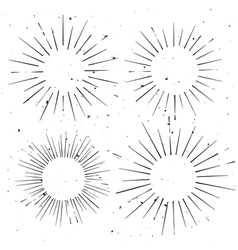 Set of vintage circle hand drawn ray frames vector image
