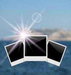 set photo frame on blurred seascape background vector image