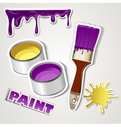 set sticker paint vector image