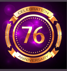 seventy six years anniversary celebration with vector image