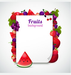 Sheet of paper decorated fruits vector