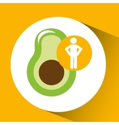 Silhouette man avocado nutrition healthy vector