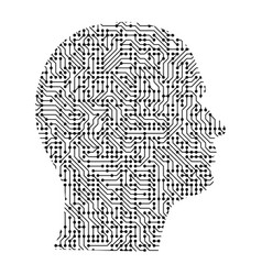 silhouette of male head on the side from black vector image