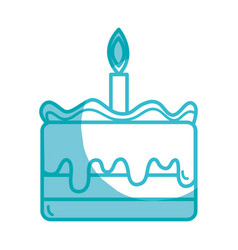 Silhouette tasty cake desset with candle to eat vector