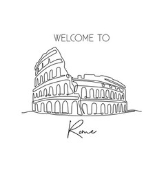 Single continuous line drawing colosseum vector