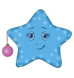 smiley star with christmas ball vector image