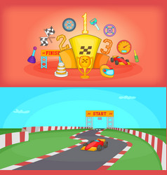 Sport race banner set horizontal cartoon style vector