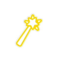 Sticker magic wand on a white background vector