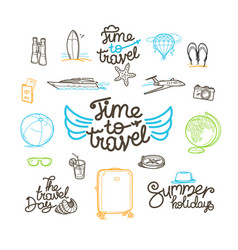 summer travel doodle style elements cute linear vector image