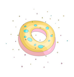 sweet yellow donut cartoon icon with colorful vector image