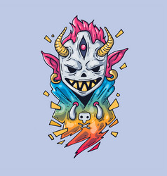 The guy in horned mask creative vector