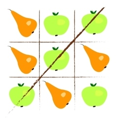 Tick-tack-toe with apples and pears vector image