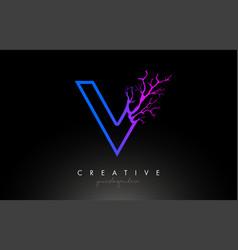 Tree letter v design logo with purple blue tree vector