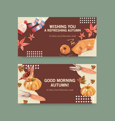 Twitter template with autumn daily concept design vector