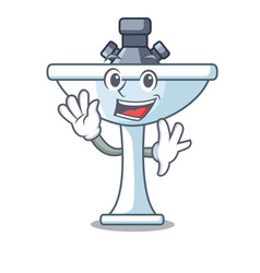 Waving kitchen sink on stely modern character vector