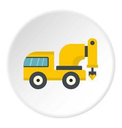 Yellow drilling machine icon circle vector