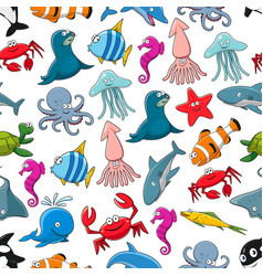 cartoon fishes and ocean animals pattern vector image vector image