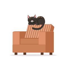 cute black red cat sleeping on a brown retro vector image