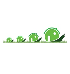 four snail in green color in the grass vector image