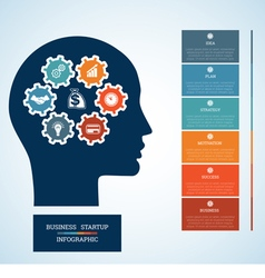 Infographic head with gearwheels thinking human 6 vector