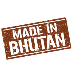 made in bhutan stamp vector image