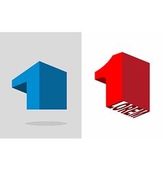 Number one logo 3d volumetric figure 1 template vector