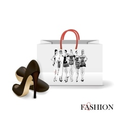 Shopping Bag with a print - Fashion vector image vector image