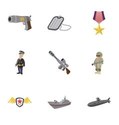 War equipment icons set cartoon style vector image