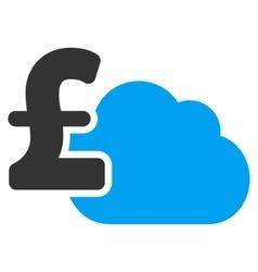 Cloud Pound Banking Flat Icon Symbol vector image